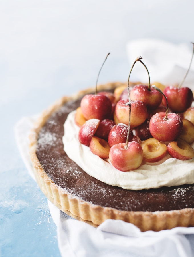 Chocolate Cherry Tart with Cardamom Cream | Teak & Thyme