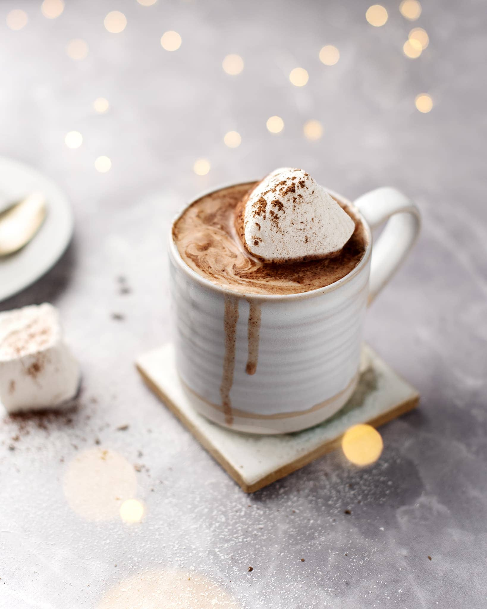 A cup of earl grey hot chocolate topped with a marshmallow and fairy lights in the background