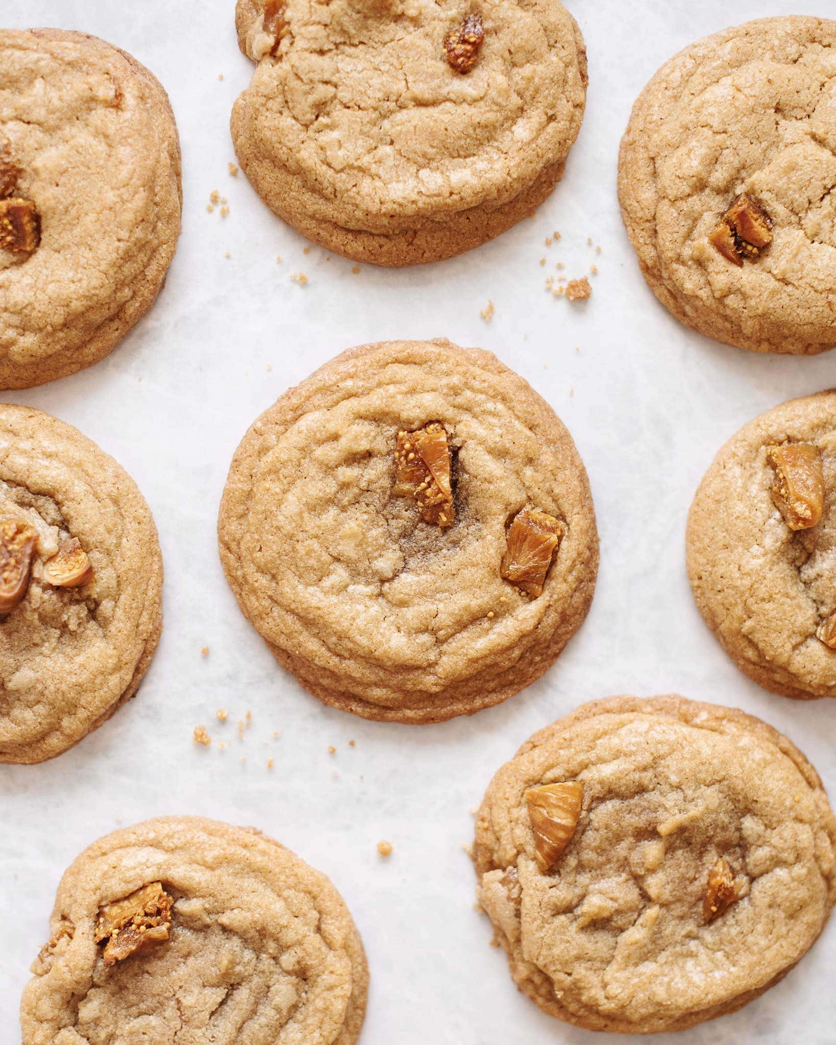 Several fig and speculoos cookie butter cookies scattered on a grey background