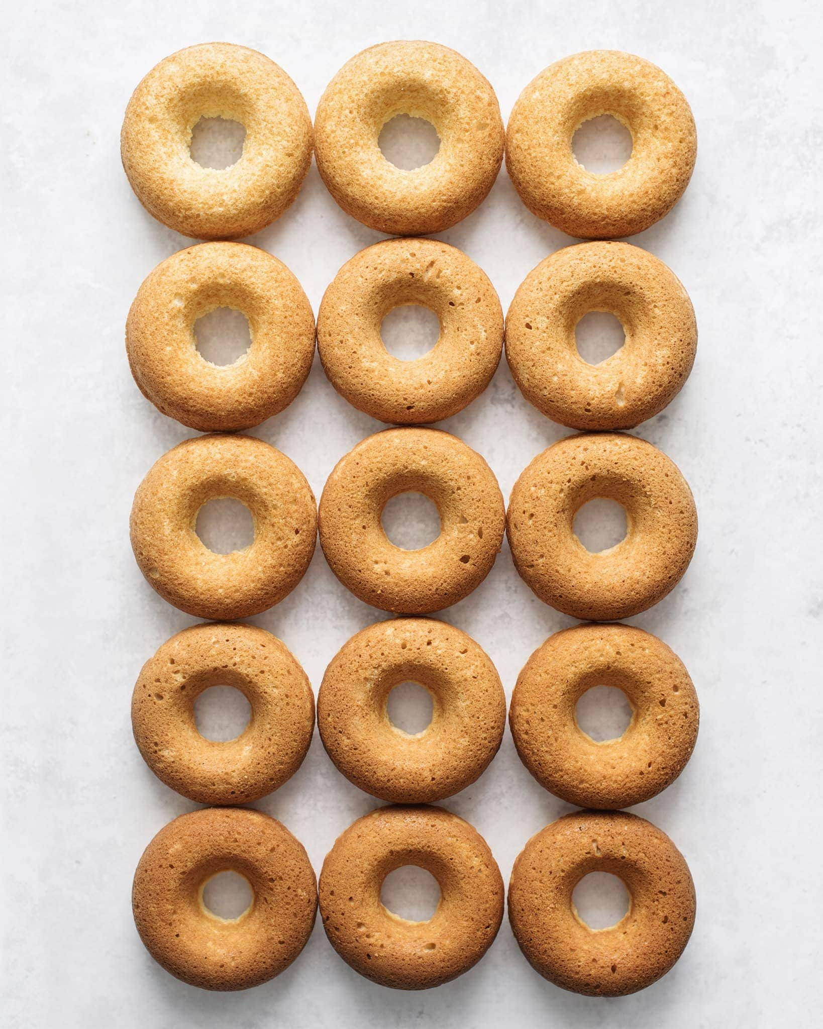 Rows of baked donuts