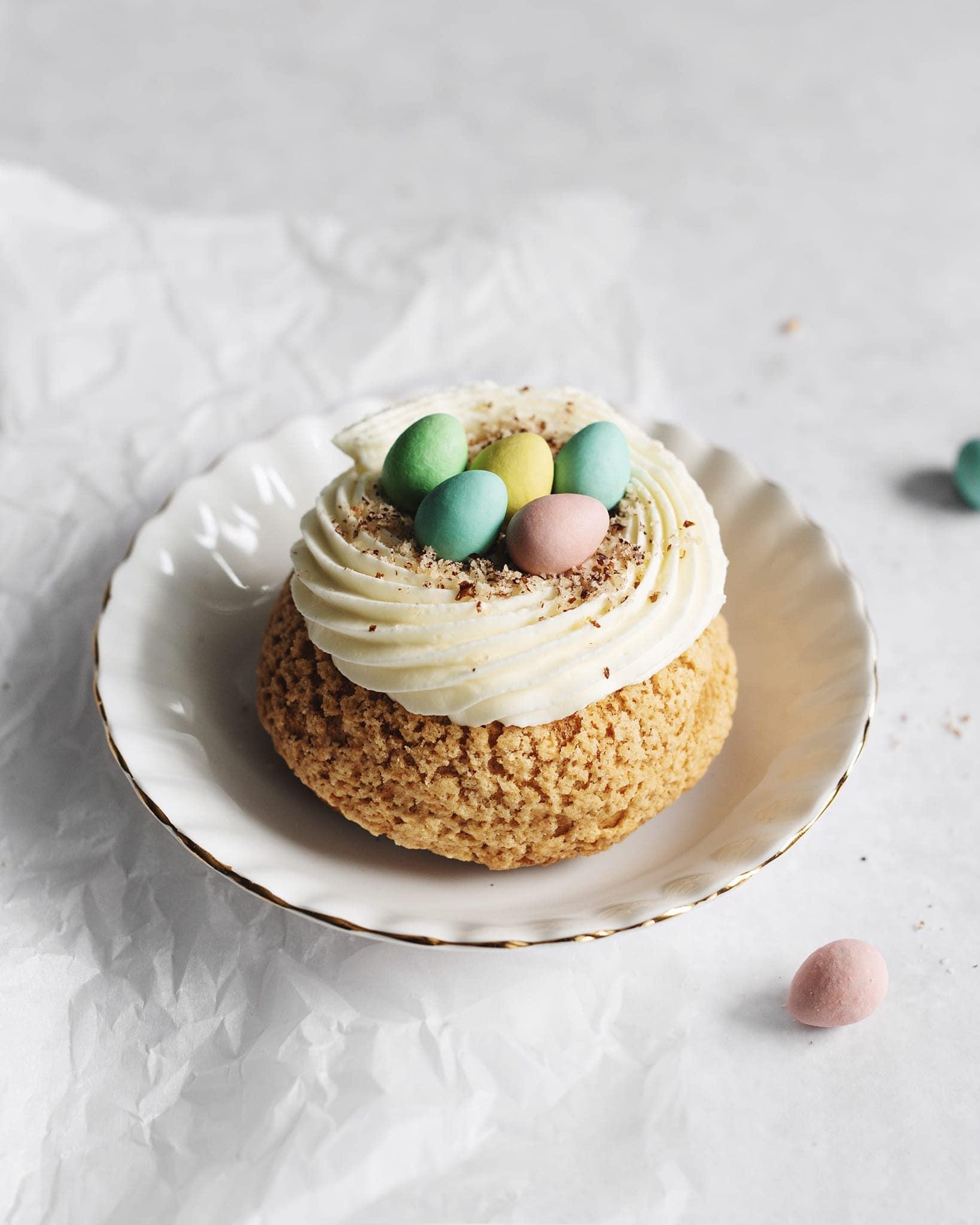 One mini egg cream puff on a plate