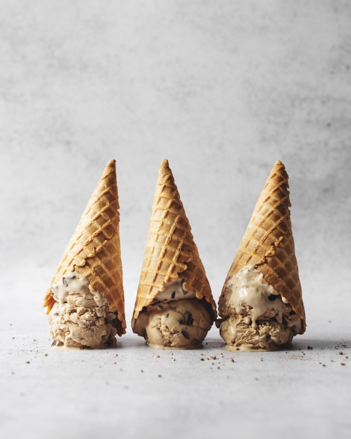 Three upside down ice cream cones