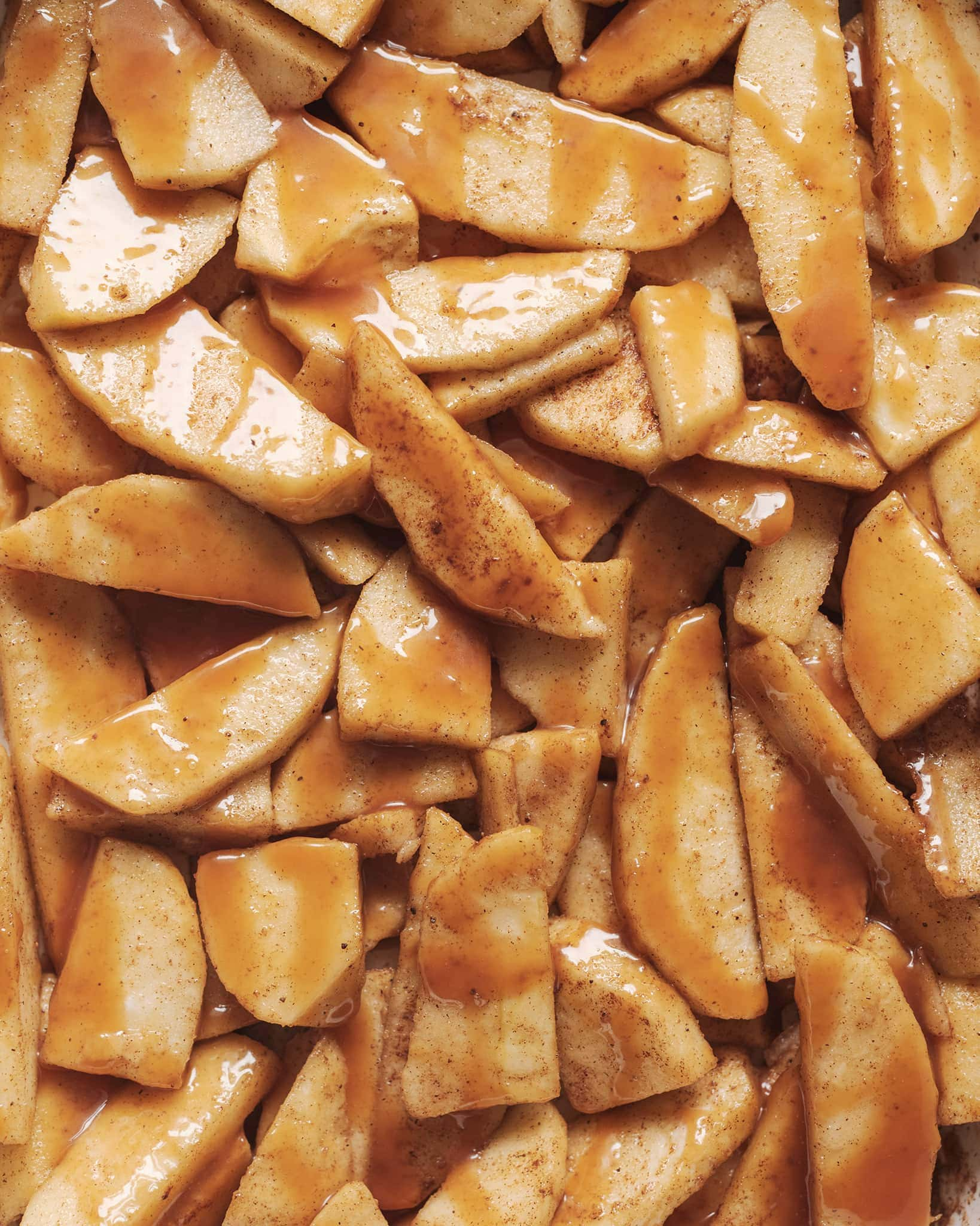 Apple slices drizzled with caramel sauce