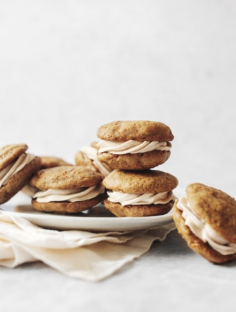 A stack of carrot cake whoopie pies