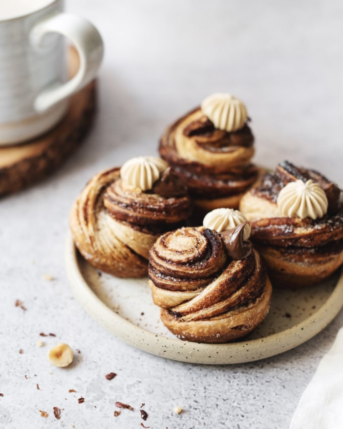 Plate of nutella cruffins with layers and twists of puff pastry