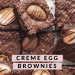 Squares of creme egg brownies with chocolate drizzle