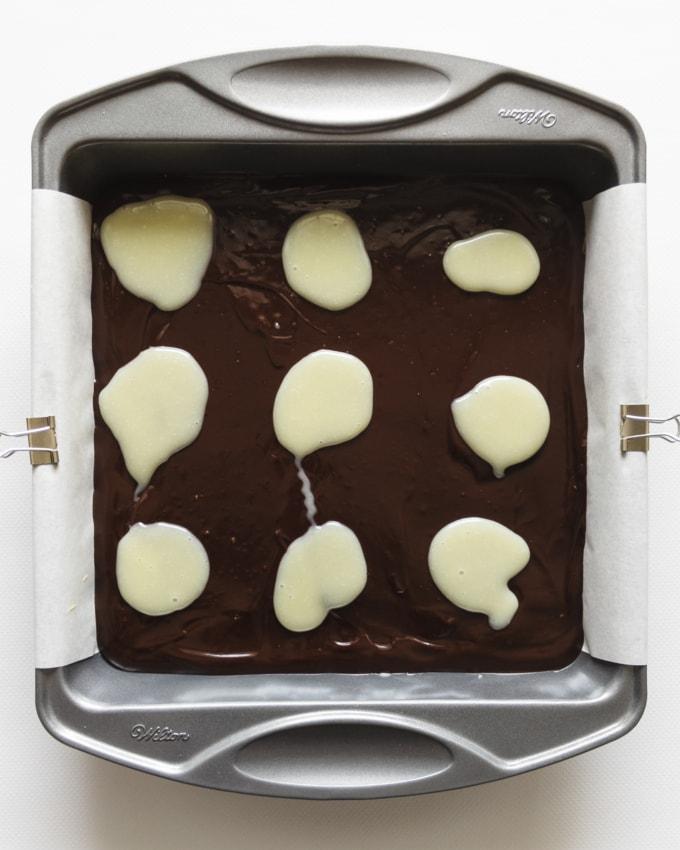 White chocolate on dark chocolate ganache