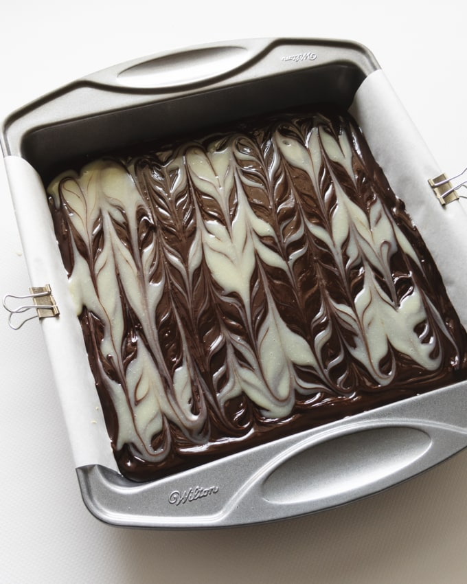 Marbled chocolate ganache pattern