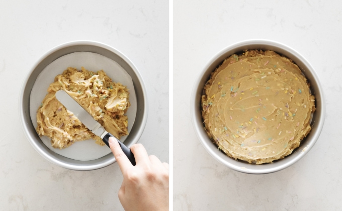 Spreading cookie batter into round pan