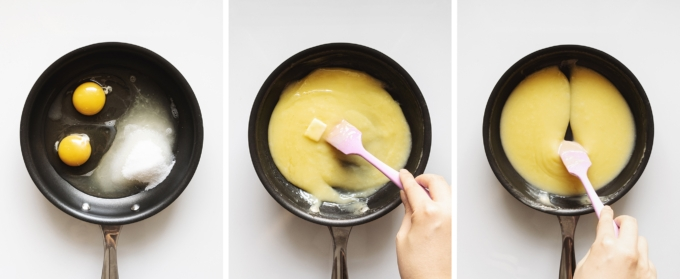 Mixing eggs, sugar, and butter in a pan