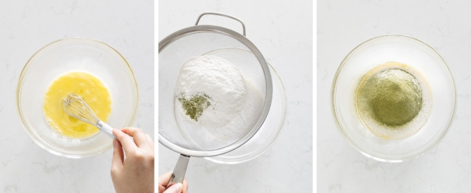 Sifting flour and matcha powder into eggs