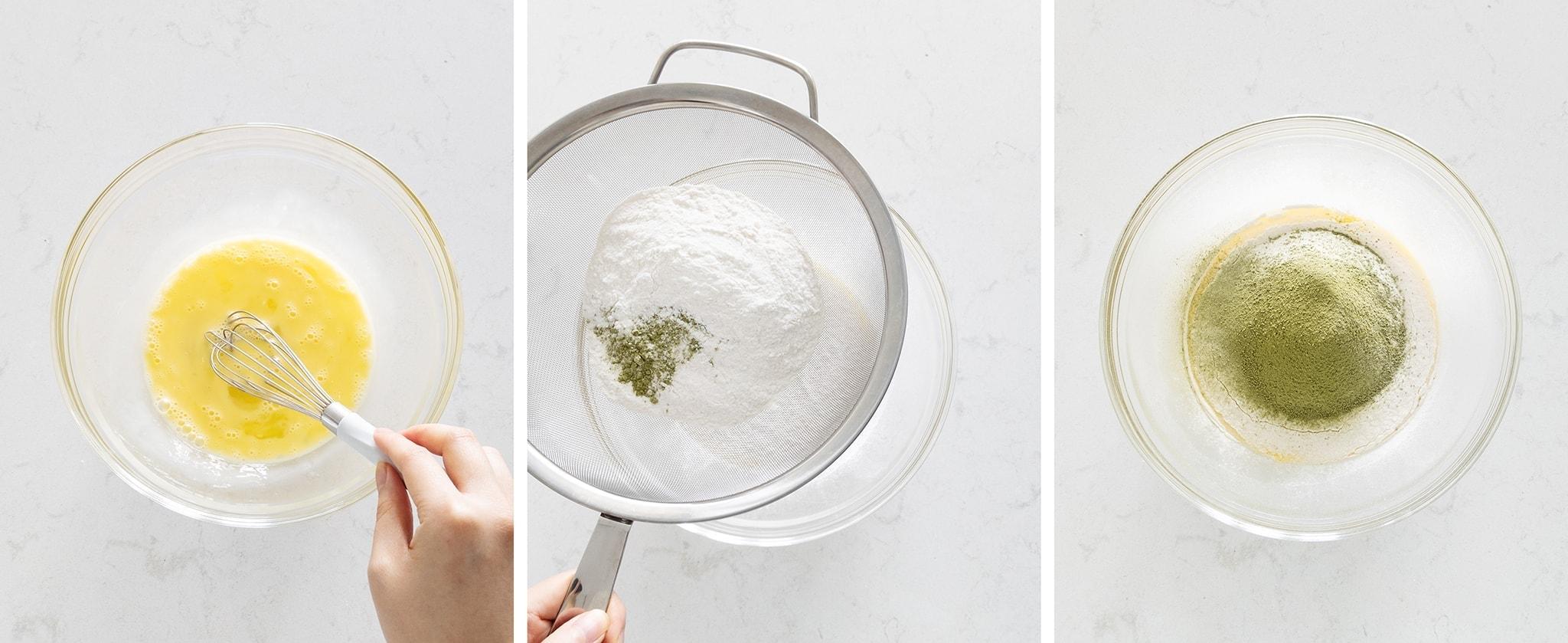Sifting flour and matcha powder into eggs
