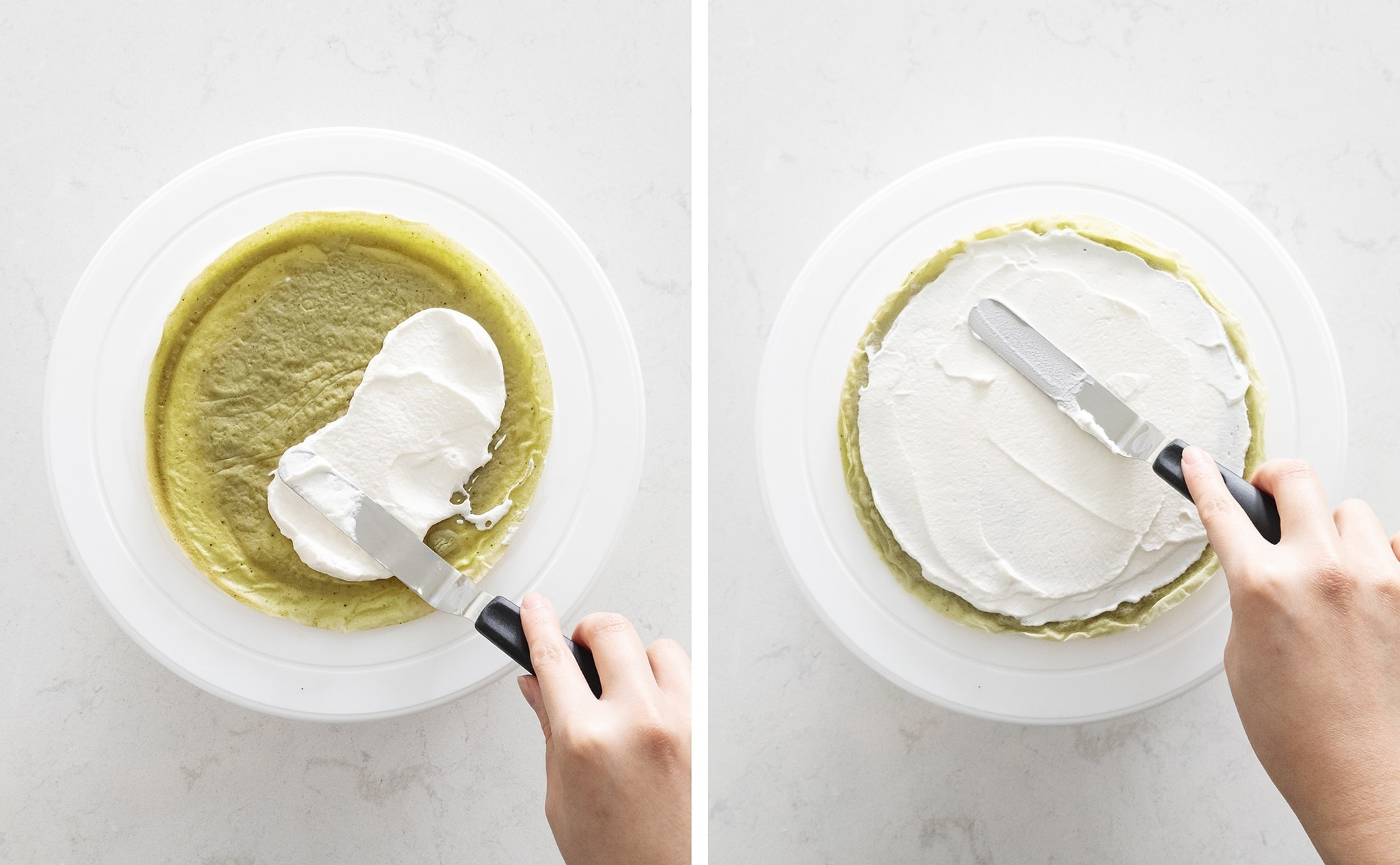 Spreading whipped cream on crepe layer