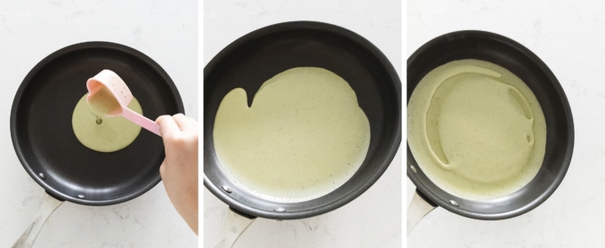 Pouring crepe batter into pan