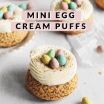 Cream puffs with mini eggs on top
