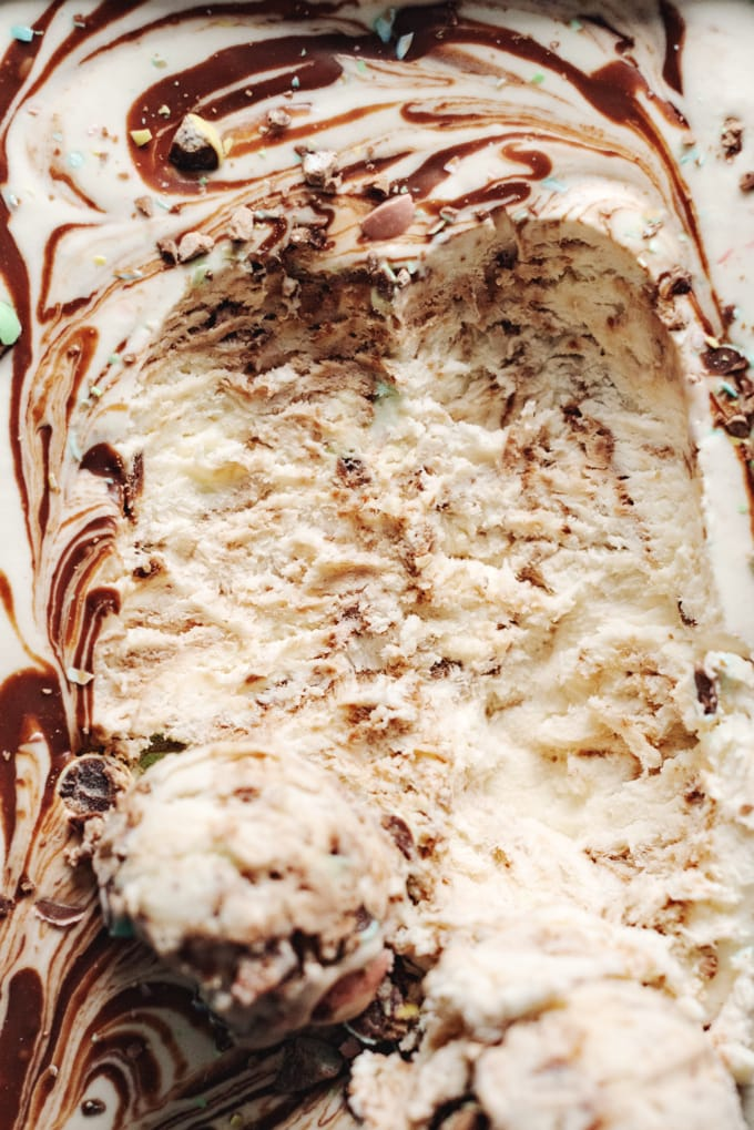 Close up of ice cream texture after scooping