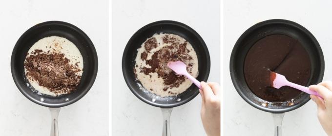 Melting chocolate into cream to make chocolate ganache