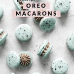 Macarons scattered on table