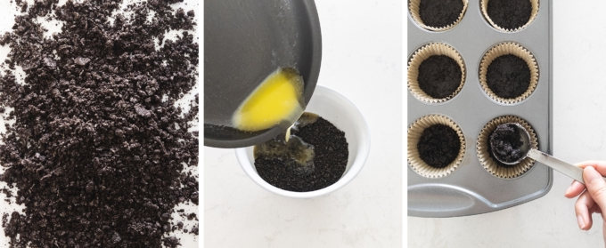 Making crushed oreo base and spooning it into muffin pan