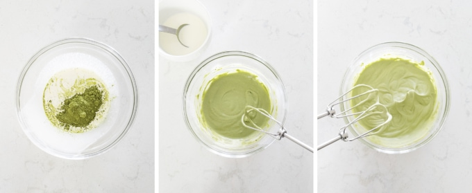 Mixing matcha whipped cream in a bowl