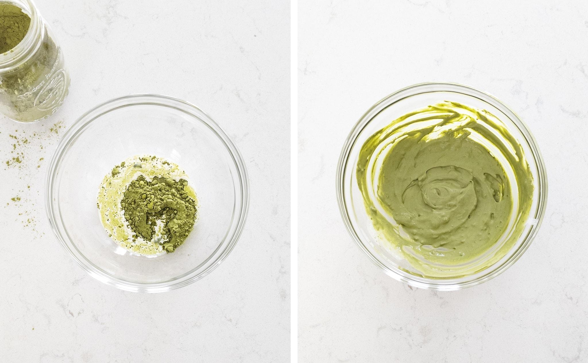 Mixing matcha powder with whipped cream