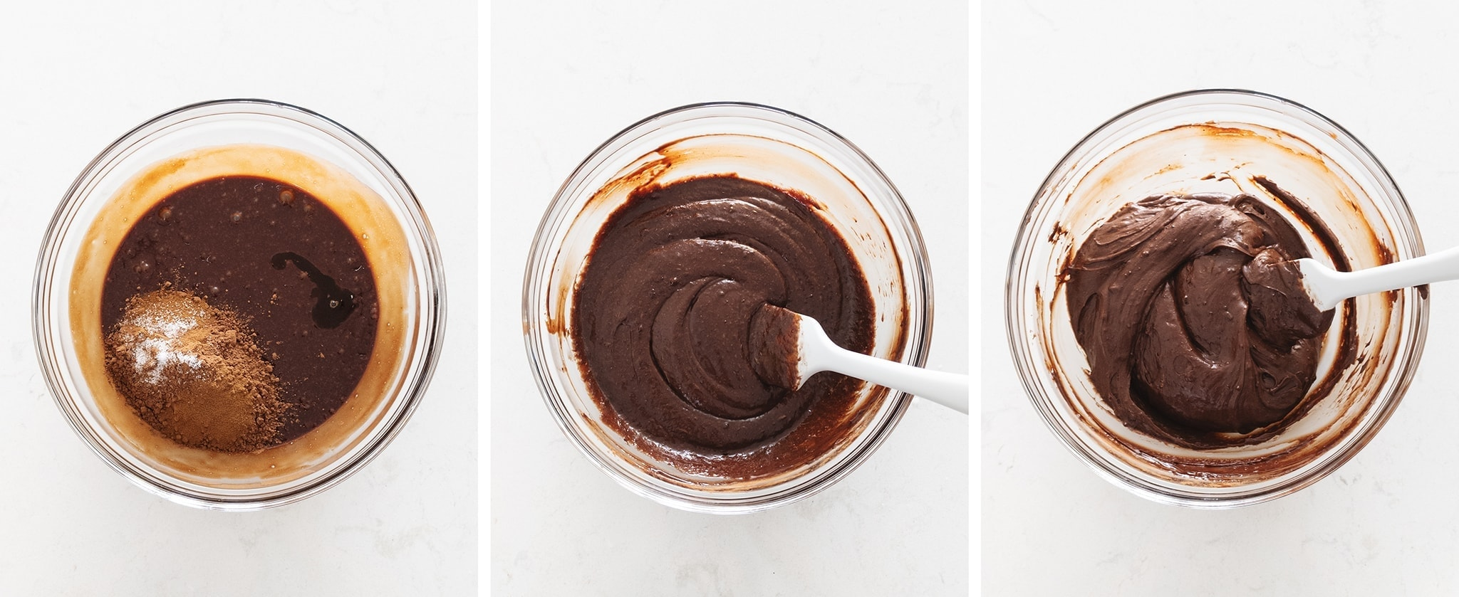 Mixing chocolate cake batter in a bowl