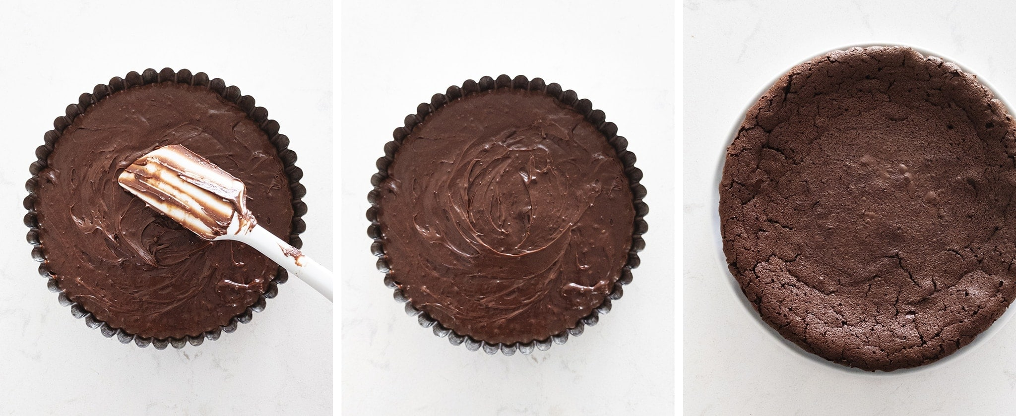 Flourless chocolate cake batter in a tart pan before and after baking