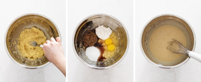 Mixing ingredients for banana bread in a bowl
