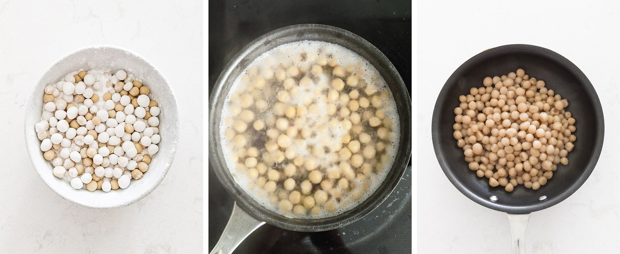 Boiling hand rolled boba pearls