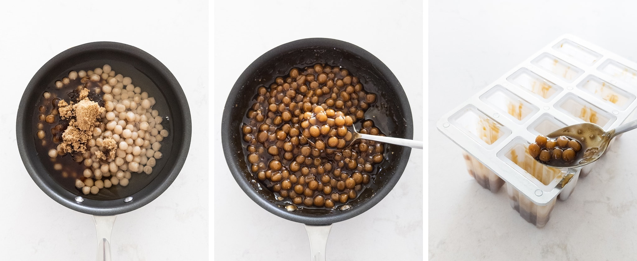 Hand rolled boba pearls in brown sugar syrup