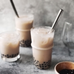 Taro milk bubble tea in glasses