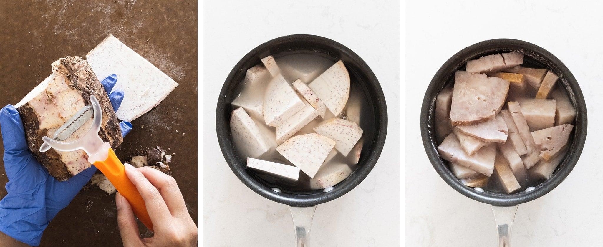 Slicing and cooking fresh taro
