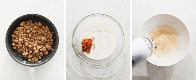Mixing pumpkin pie ice cream in a bowl