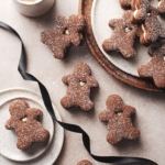 Gingerbread cookies dusted with powdered sugar