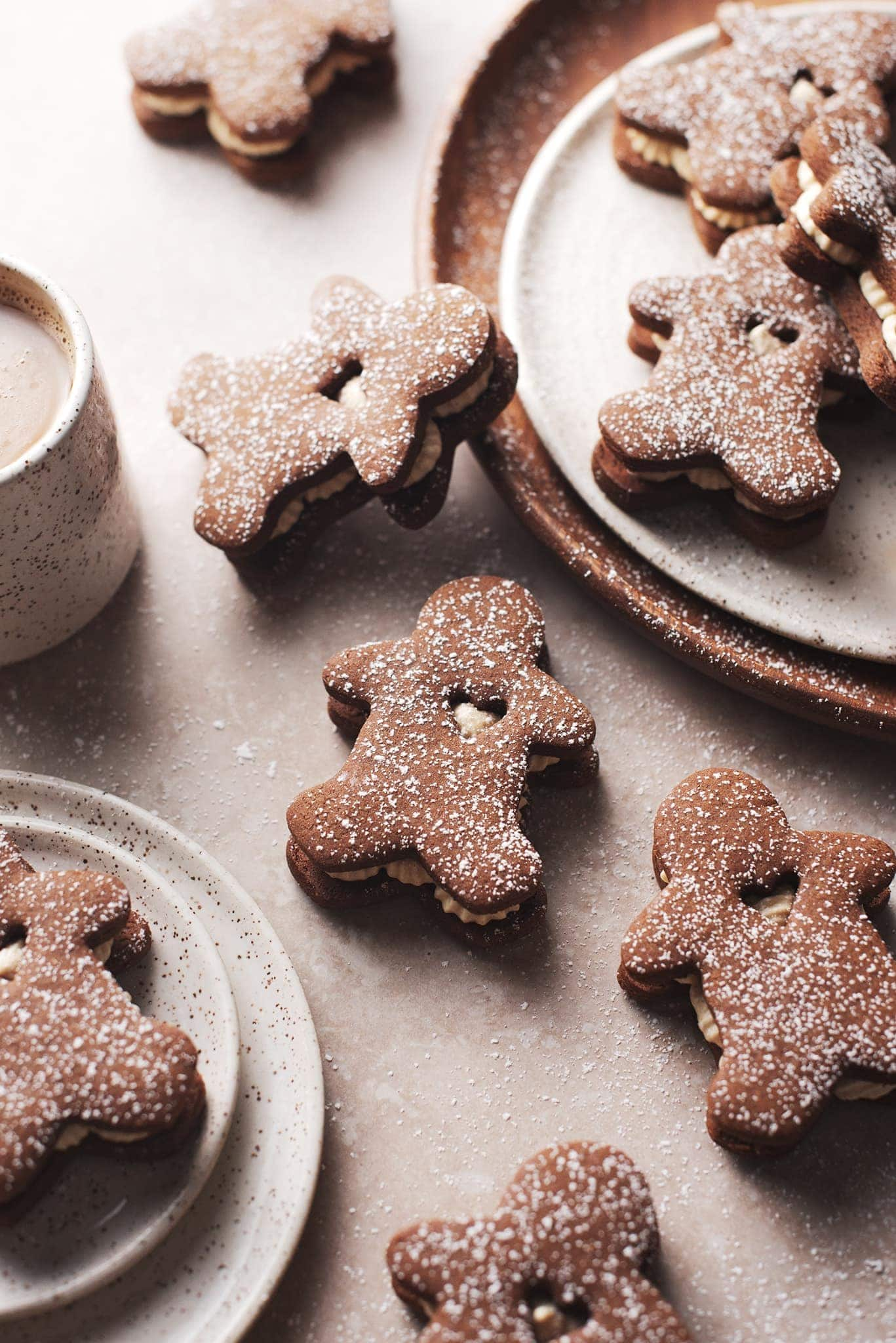 Gingerbread cookies with heart cut out