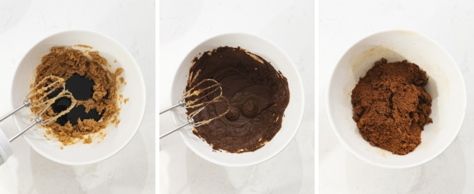 Mixing gingerbread cookie dough in a bowl