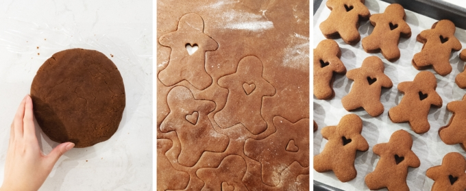 Rolling out gingerbread dough and cutting out cookies