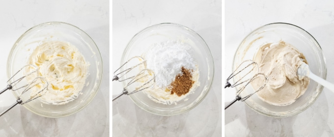 Mixing ginger cream cheese buttercream in a bowl
