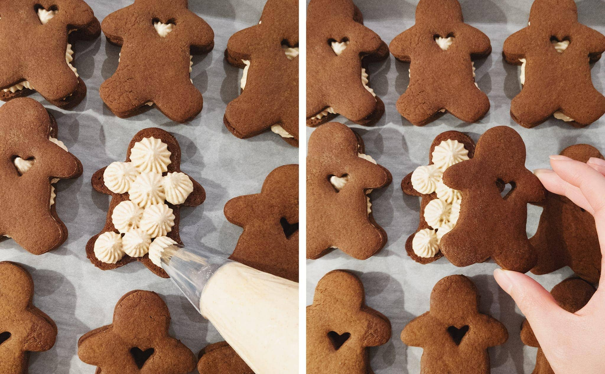 Piping ginger cream cheese buttercream onto gingerbread cookies
