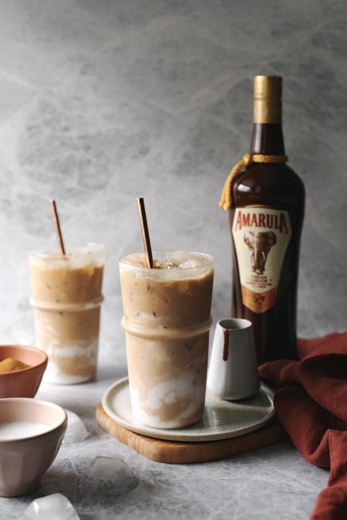 Iced coconut latte with Amarula bottle