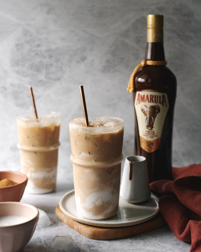 Iced coconut latte with Amarula bottle