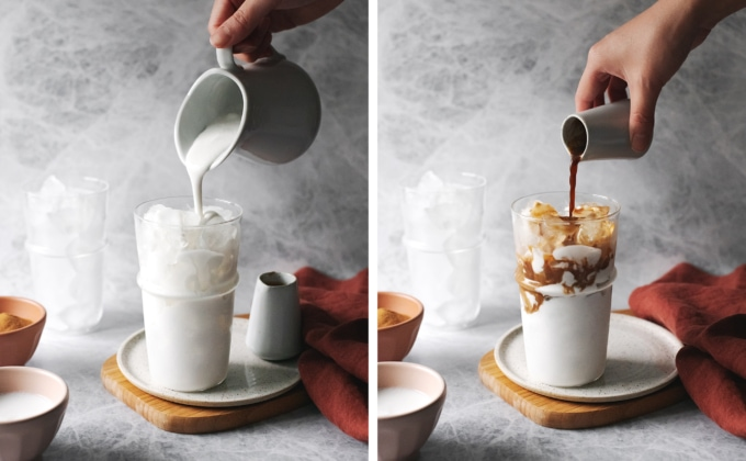 Pouring coconut milk and espresso into glass on ice