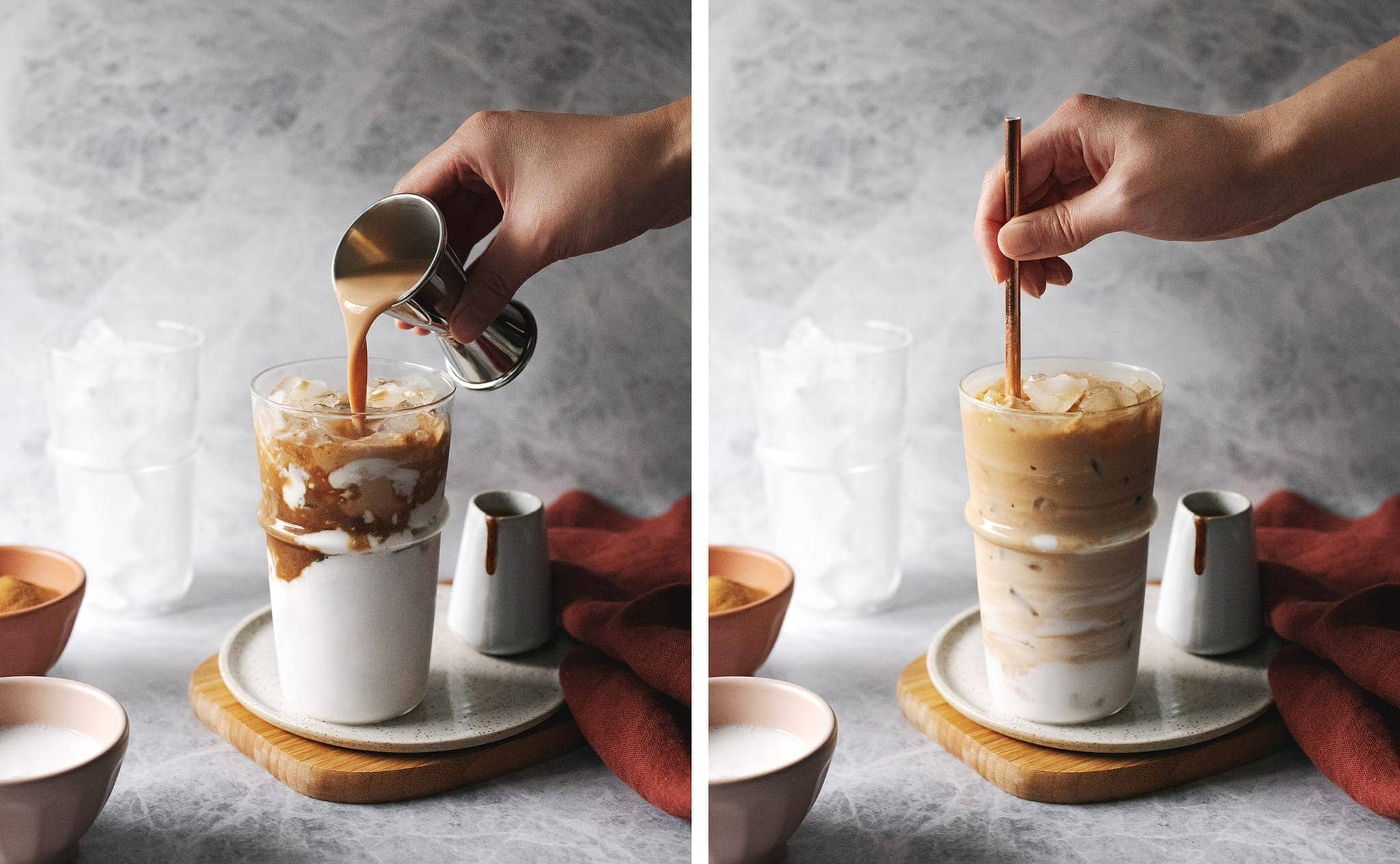 Pouring Amarula into coconut latte and stirring with straw
