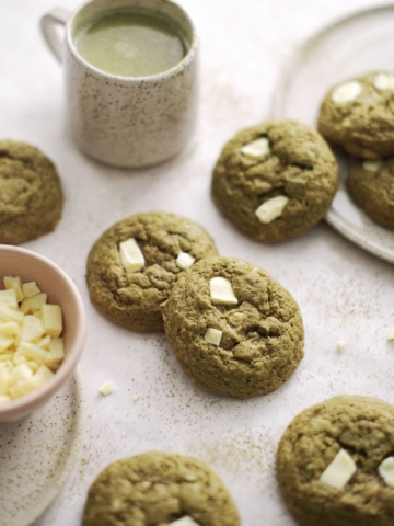 Matcha white chocolate cookies on table