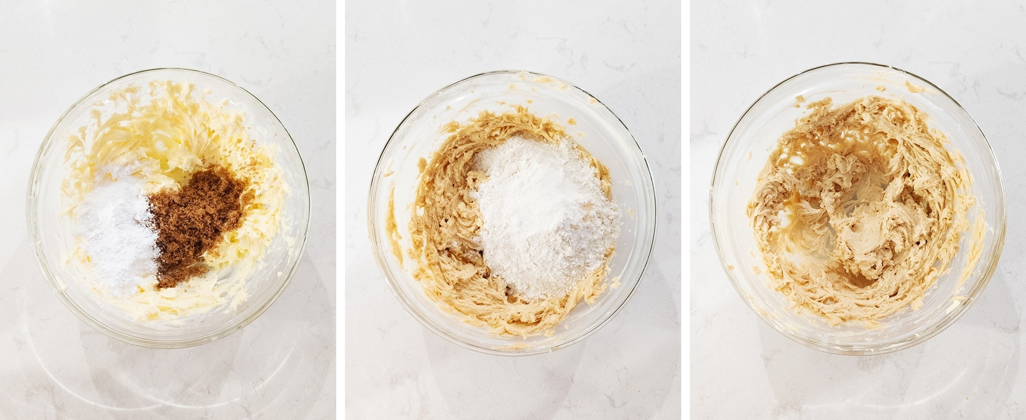 Mixing flour and sugar into butter in a mixing bowl
