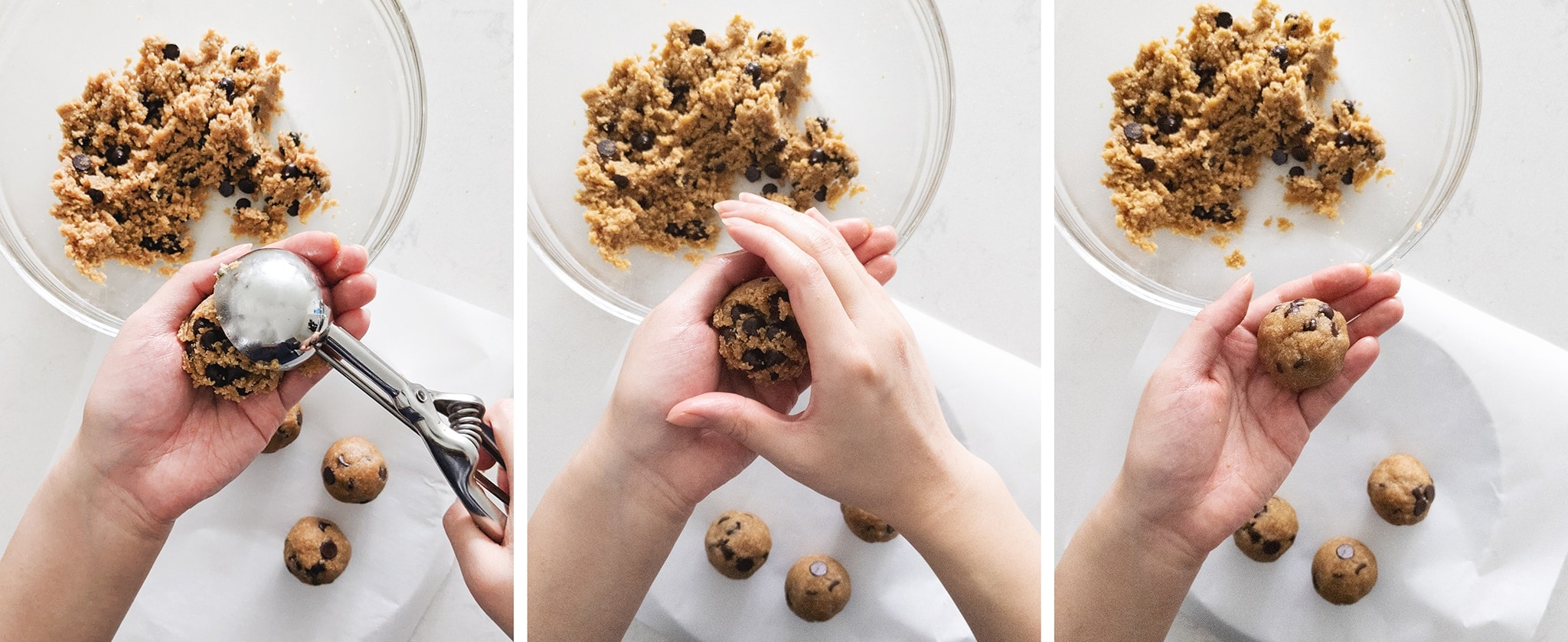 rolling cookie dough into balls in hands