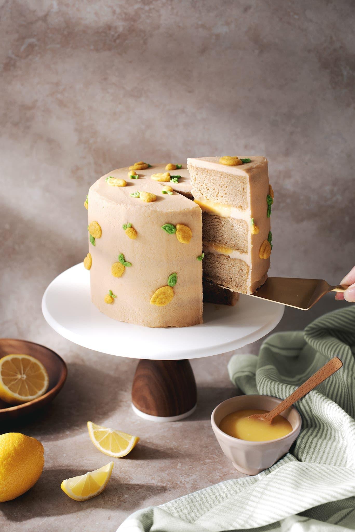 Earl grey lemon cake covered in buttercream lemon design