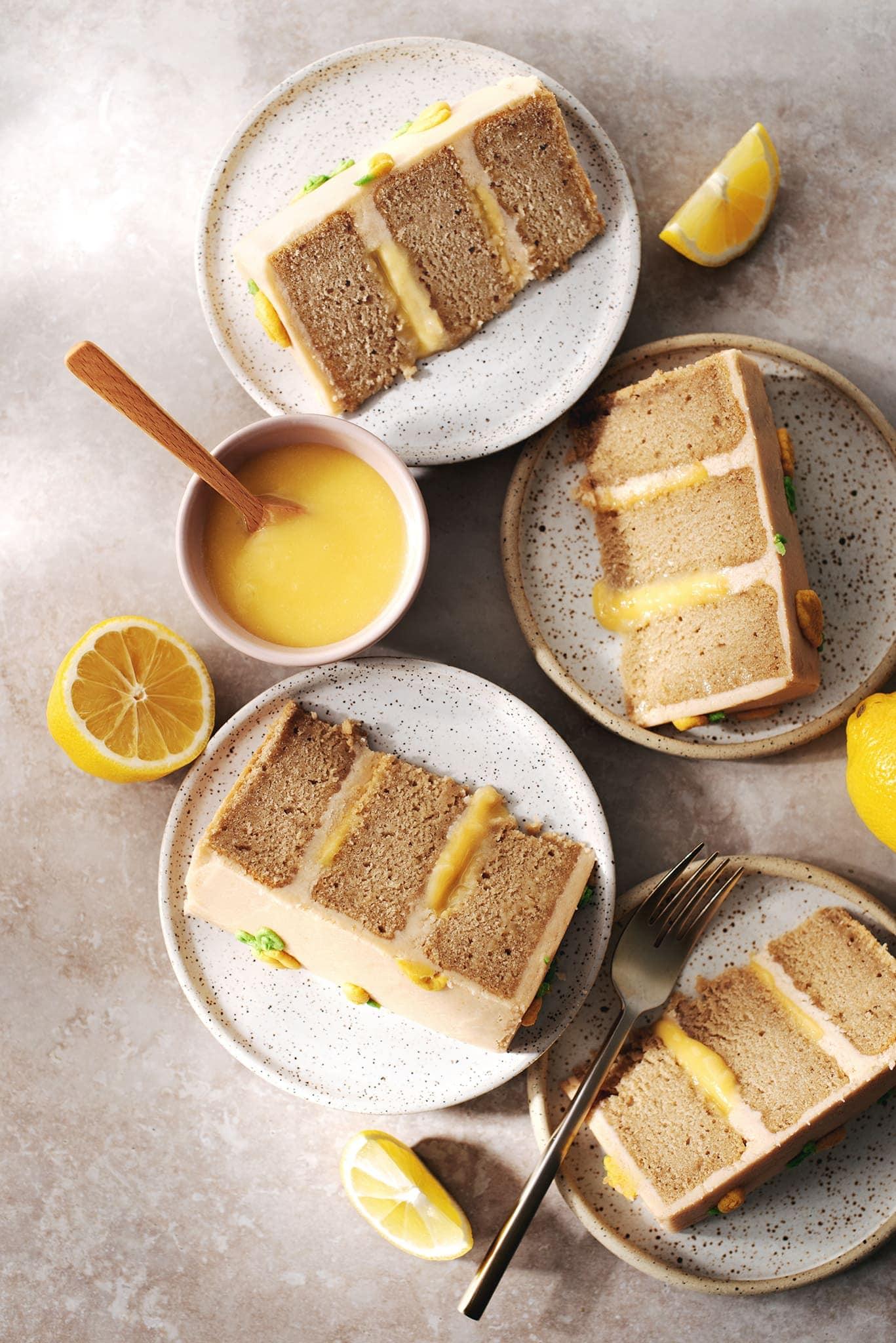 Slices of earl grey lemon cake on plates