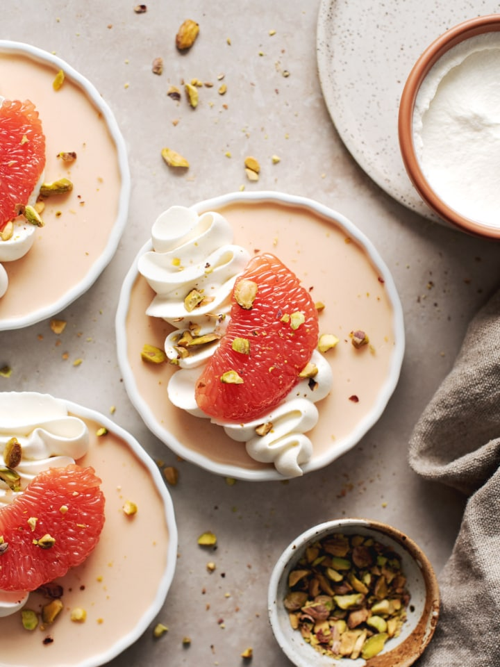 Grapefruit panna cotta in a ramekin