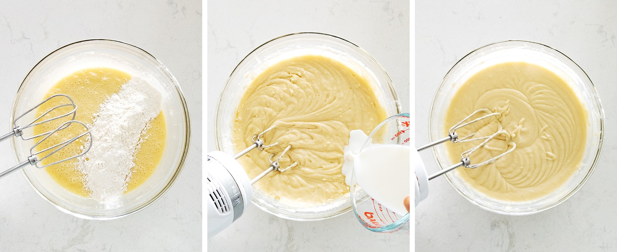 Mixing flour and milk into cake batter